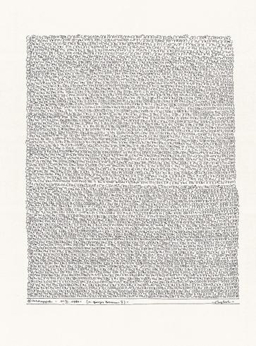 1980, Georges Brassens, Tusche auf Papier, 58 x 43 cm