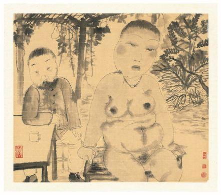 Under the Grape Trellis, 2004, Ink Wash on Xuan Paper, 42 x 48 cm